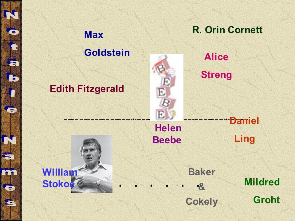 Notable Names R. Orin Cornett Max Goldstein Alice Streng