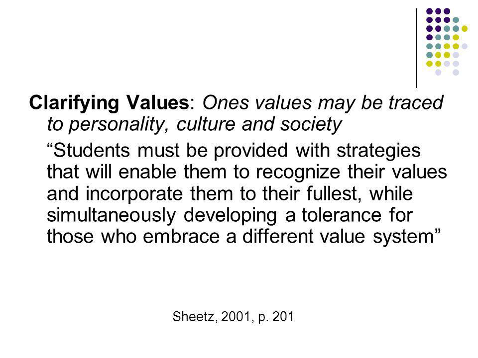 Clarifying Values: Ones values may be traced to personality, culture and society