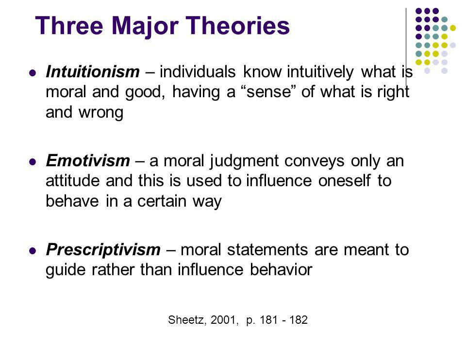 Three Major Theories Intuitionism – individuals know intuitively what is moral and good, having a sense of what is right and wrong.