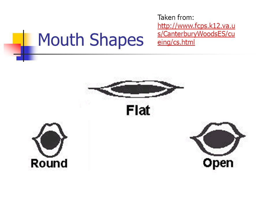 Mouth Shapes Taken from: http://www.fcps.k12.va.us/CanterburyWoodsES/cueing/cs.html