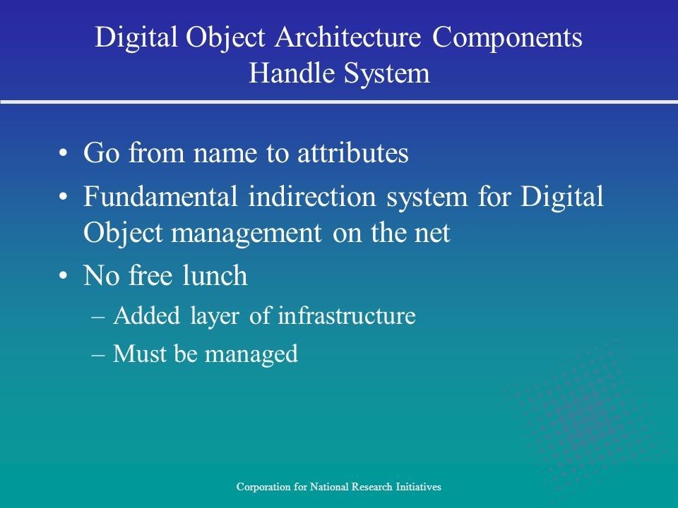 Digital Object Architecture Components Handle System