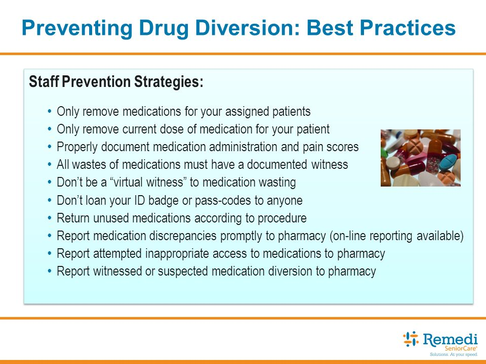 drug diversion One timely topic that is both difficult to comprehend and discuss is drug diversion in long-term care long-term care leaders must have a solid system in place with policies and procedures, education, oversight and monitoring on an ongoing basis, as shift-to-shift counting alone will not suffice in identification of diversion.