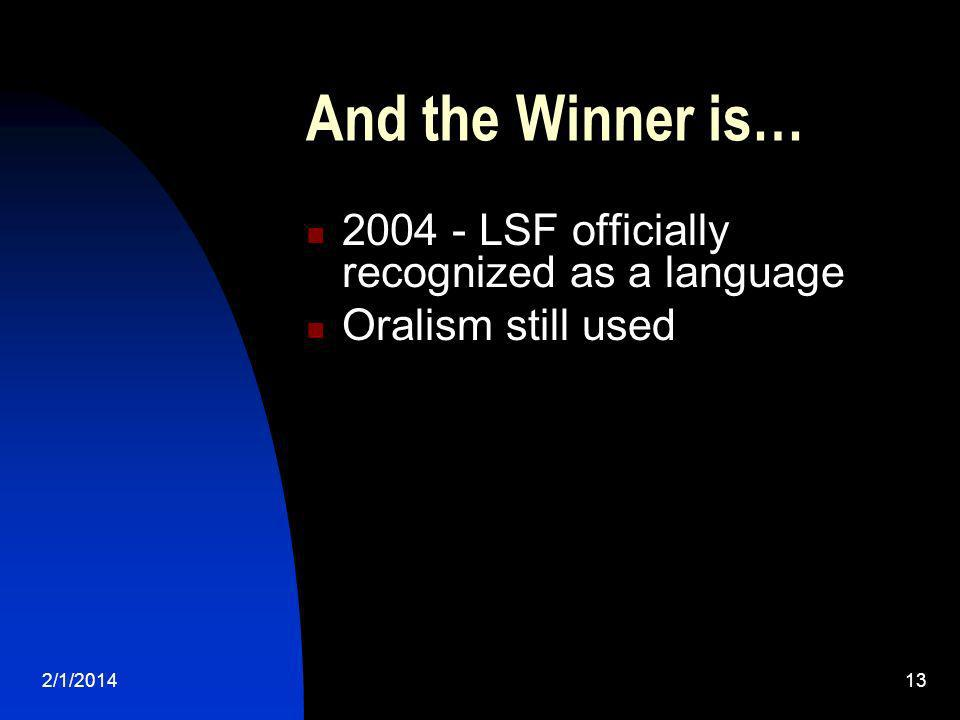 And the Winner is… 2004 - LSF officially recognized as a language