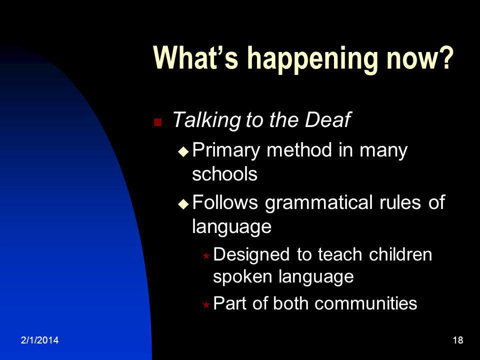 What's happening now Talking to the Deaf
