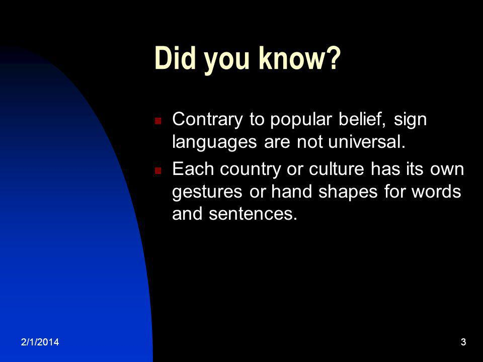 Did you know Contrary to popular belief, sign languages are not universal.