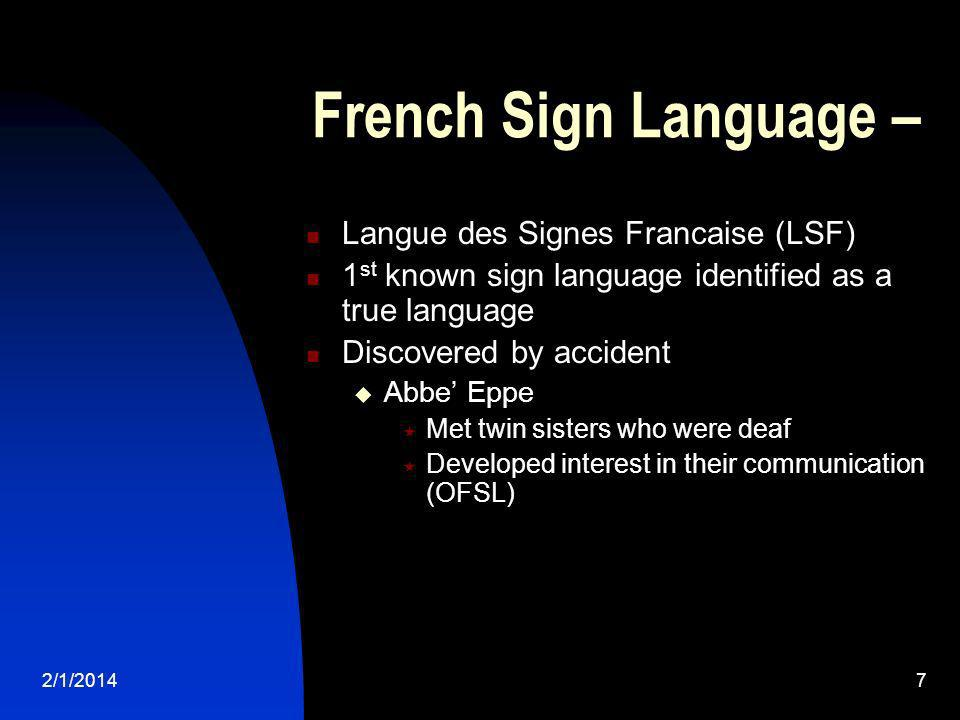 French Sign Language – Langue des Signes Francaise (LSF)