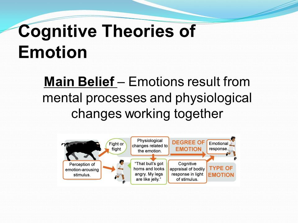 cognitive theories of emotion emotions are Longest standing cognitive theory of emotions three cognitive theories of emotion developed, but they are representative of cognitive approaches to emotions.