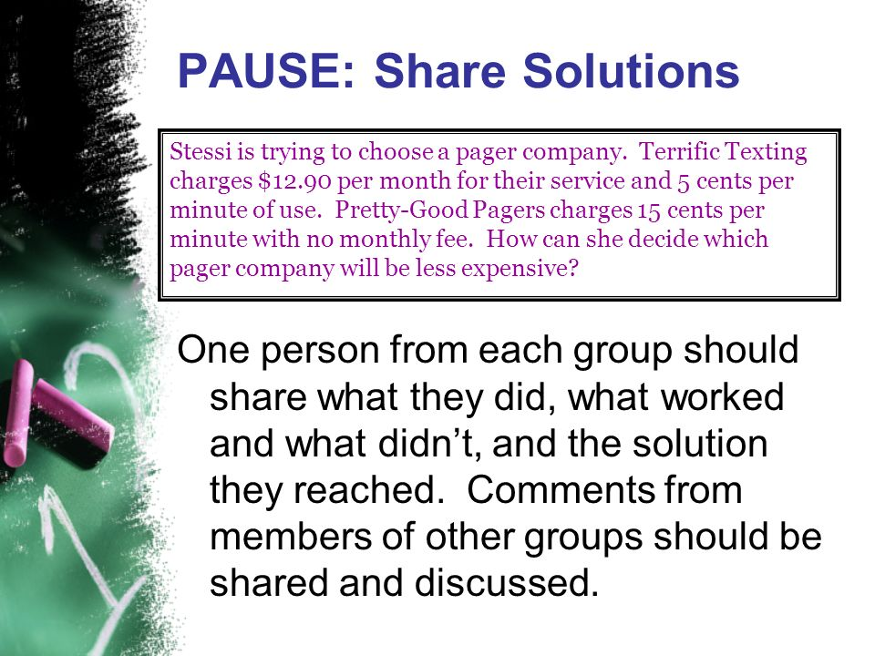 PAUSE: Share Solutions