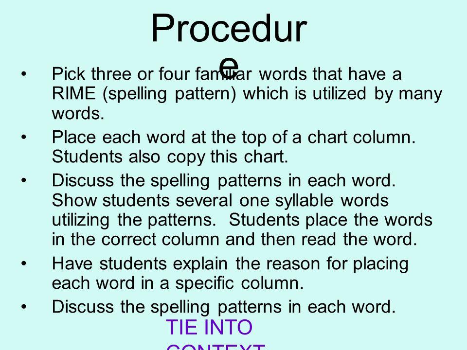 Procedure TIE INTO CONTEXT