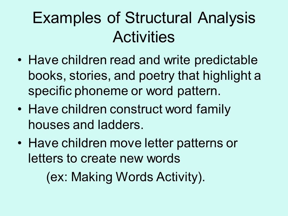Examples of Structural Analysis Activities