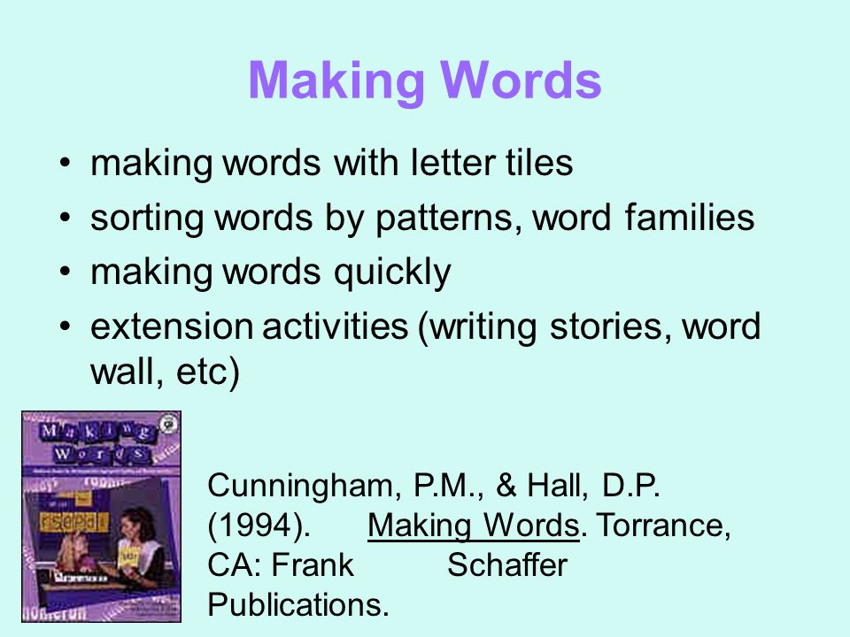 Making Words making words with letter tiles