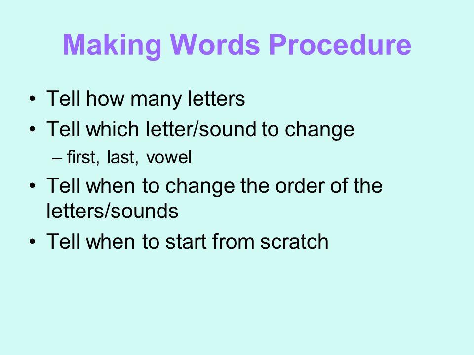 Making Words Procedure