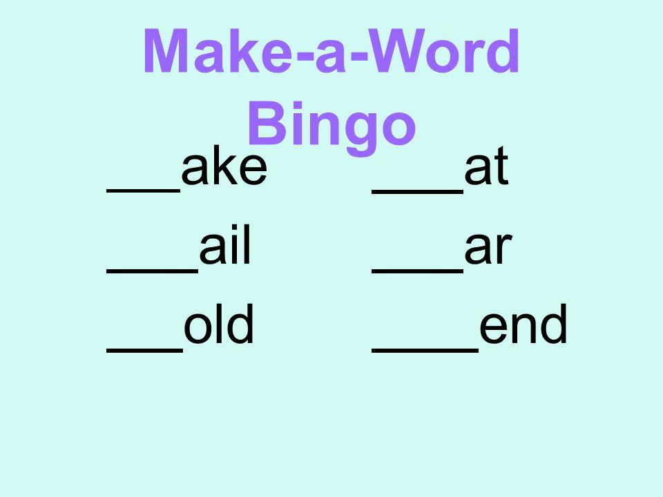 Make-a-Word Bingo ake at ail ar old end