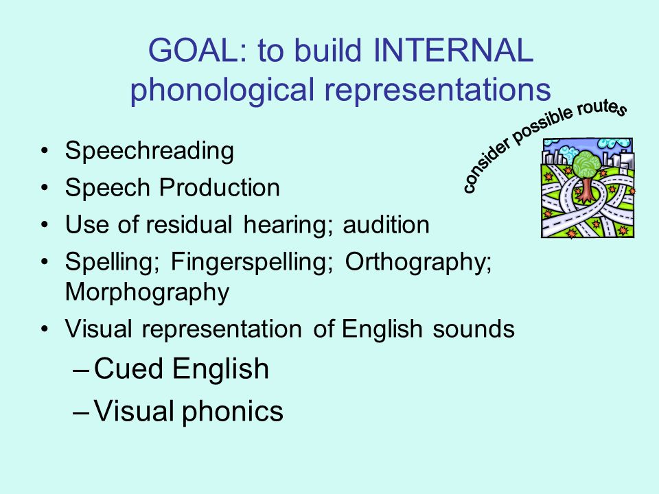 GOAL: to build INTERNAL phonological representations