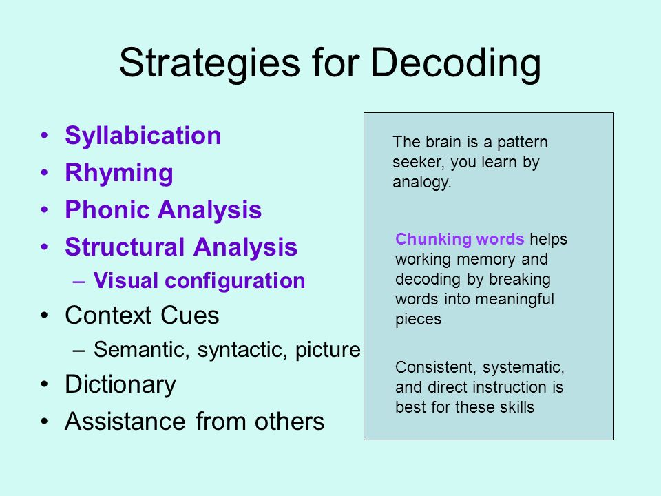 Strategies for Decoding