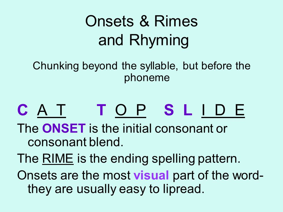 Onsets & Rimes and Rhyming