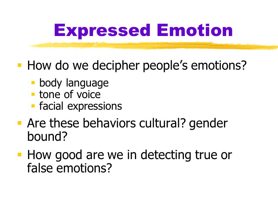 the emotional expressions and behaviors of men and women Start studying module 32: expressing and experiencing emotion  different _____ about men's and women's behaviors  in the emotional expressions of takyi.