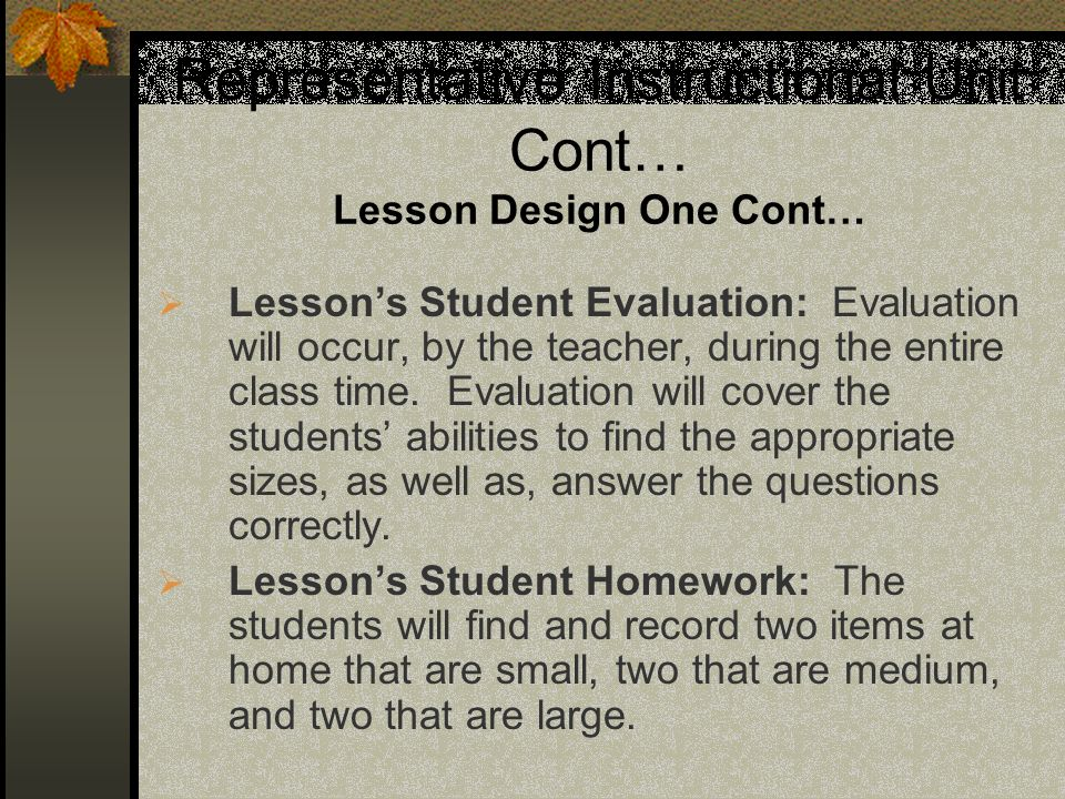 Representative Instructional Unit Cont… Lesson Design One Cont…