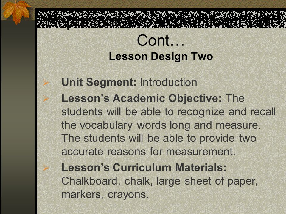 Representative Instructional Unit Cont… Lesson Design Two