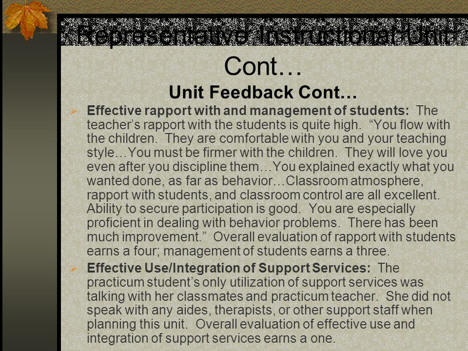 Representative Instructional Unit Cont… Unit Feedback Cont…