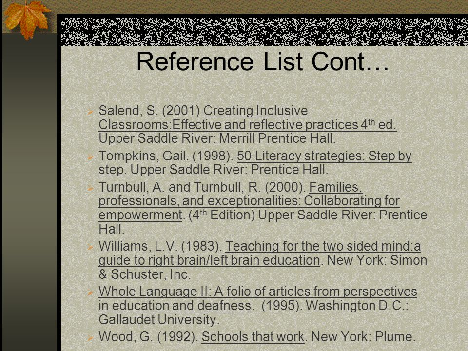 Reference List Cont…
