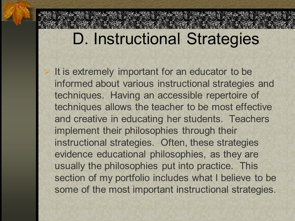 D. Instructional Strategies