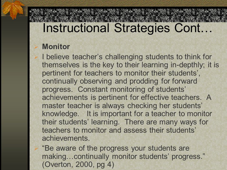 Instructional Strategies Cont…
