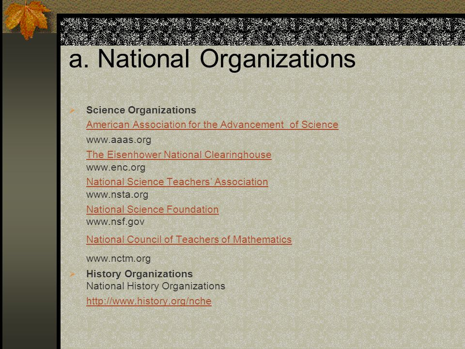 a. National Organizations
