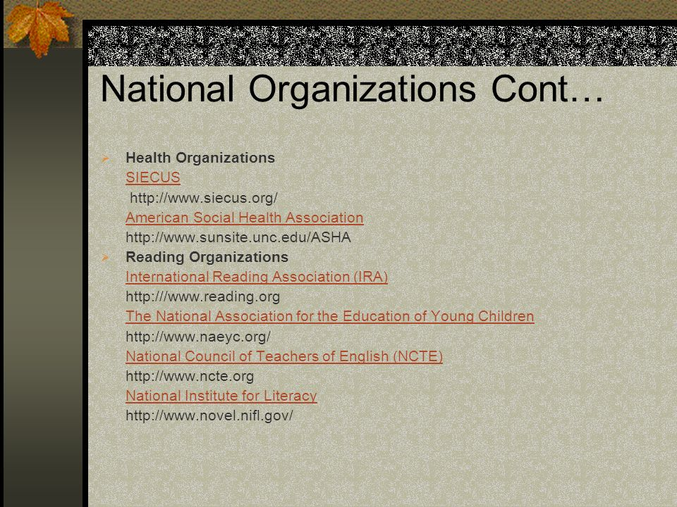 National Organizations Cont…