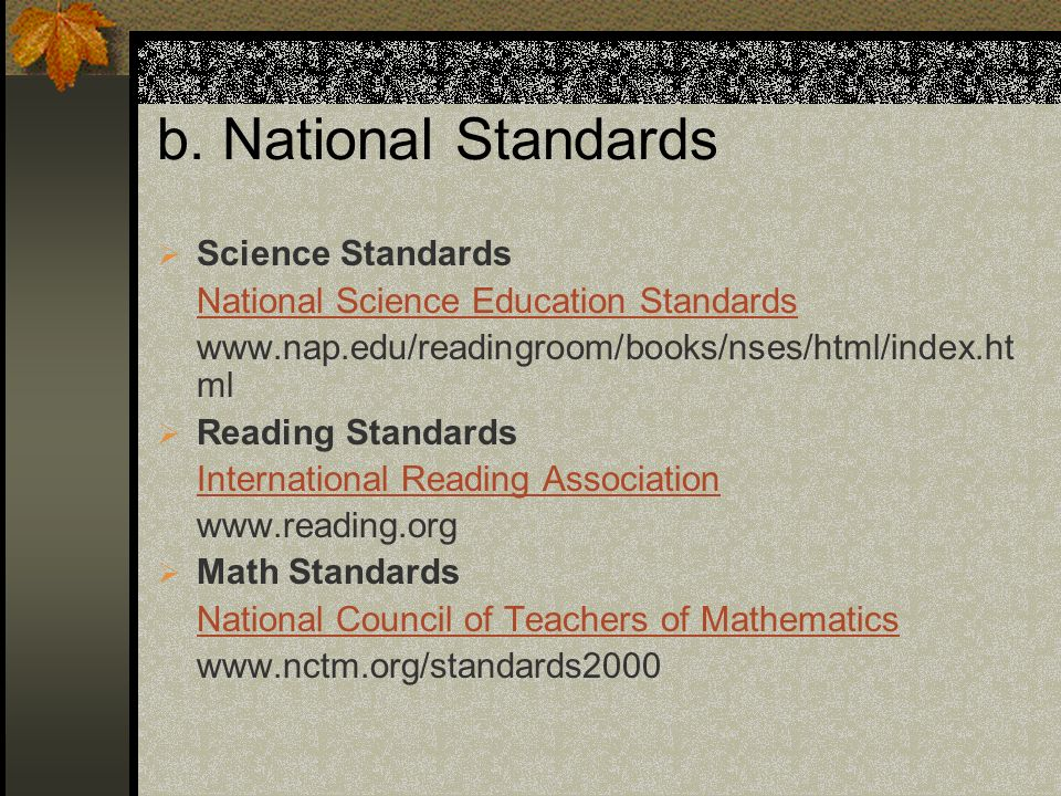 b. National Standards Science Standards