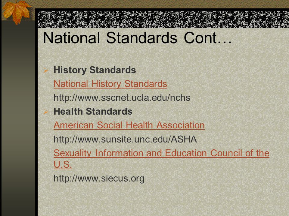 National Standards Cont…