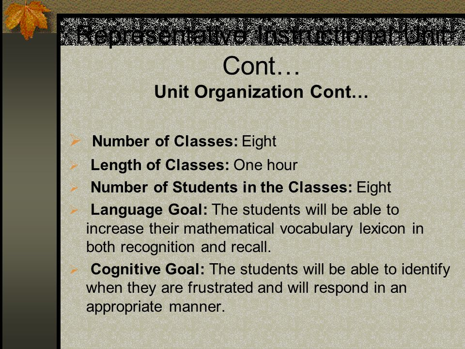 Representative Instructional Unit Cont… Unit Organization Cont…