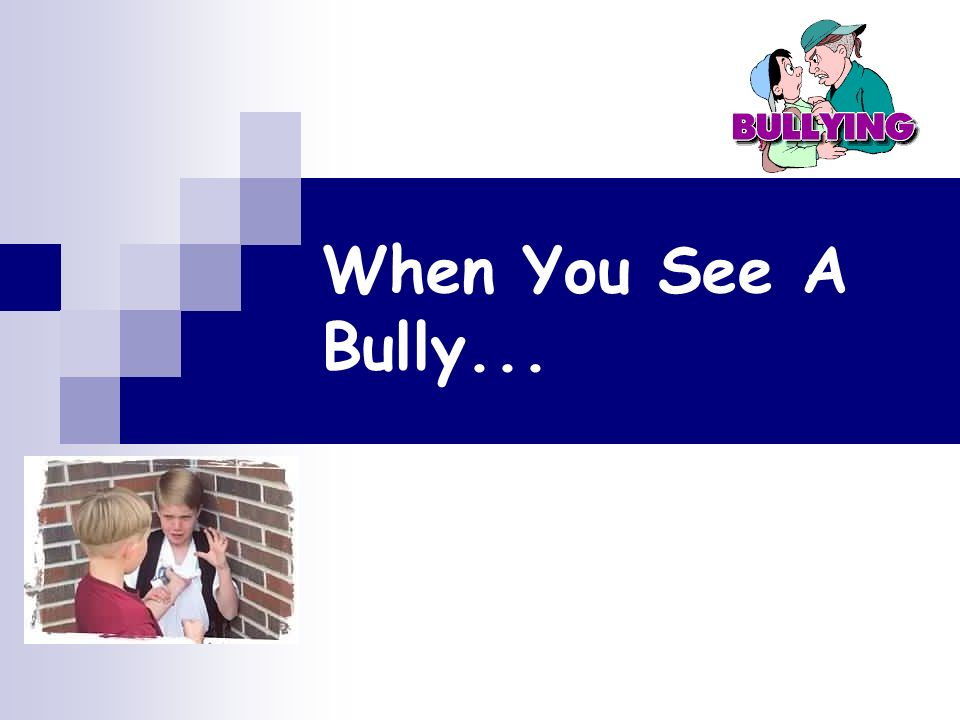 When You See A Bully...