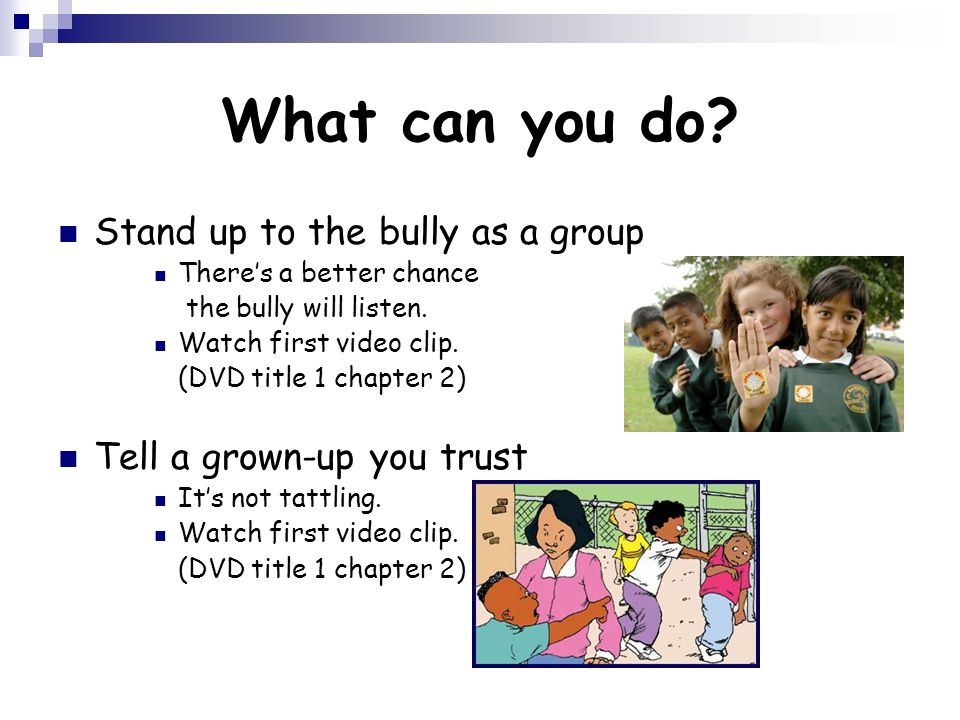 What can you do Stand up to the bully as a group