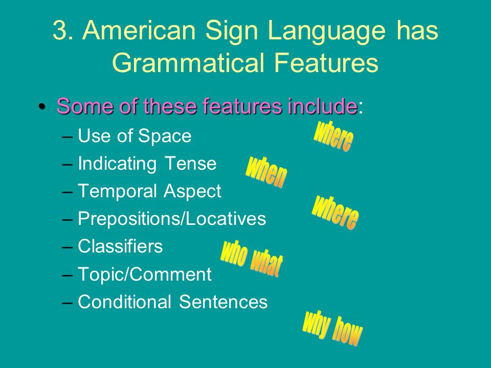 3. American Sign Language has Grammatical Features