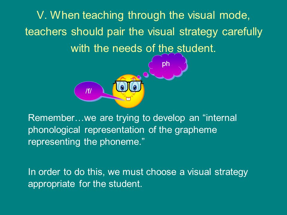 V. When teaching through the visual mode, teachers should pair the visual strategy carefully with the needs of the student.
