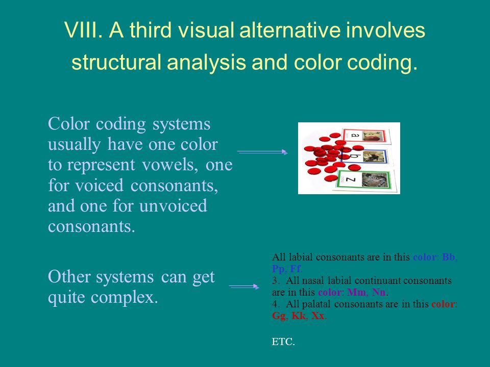 VIII. A third visual alternative involves structural analysis and color coding.