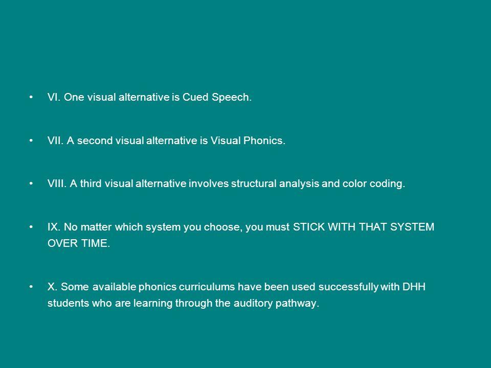 VI. One visual alternative is Cued Speech.