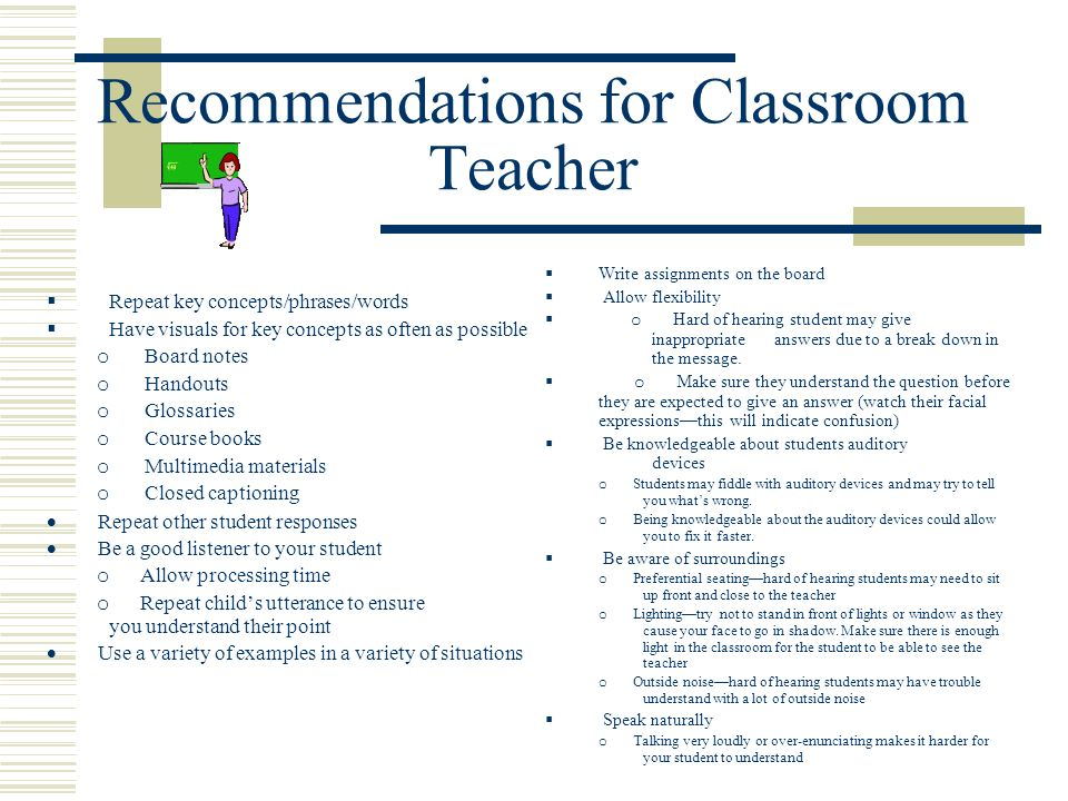 Recommendations for Classroom Teacher