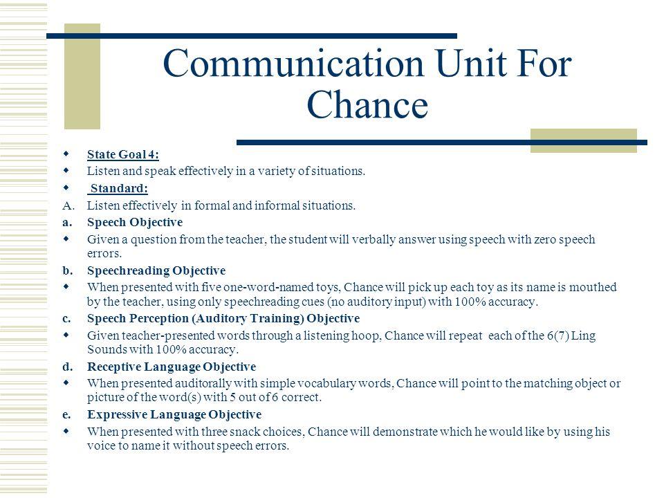 Communication Unit For Chance