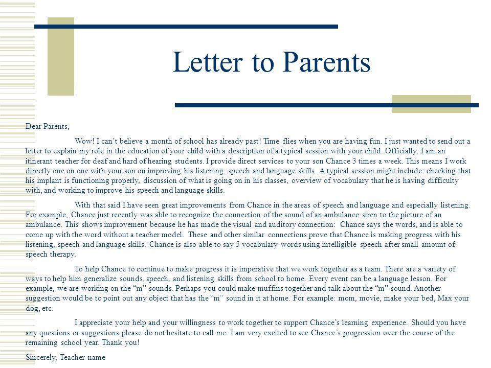 Letter to Parents Dear Parents,