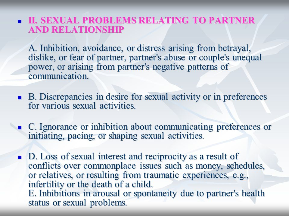 sexual problem and relationship