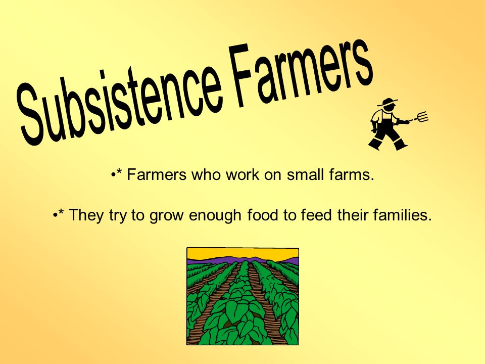 Subsistence Farmers * Farmers who work on small farms.