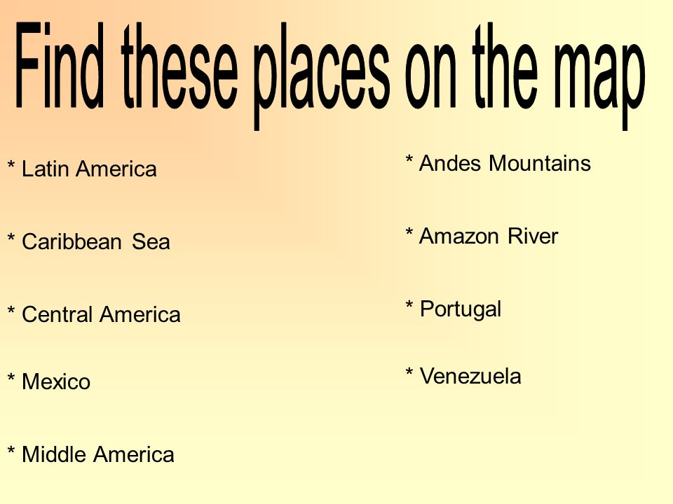 Find these places on the map