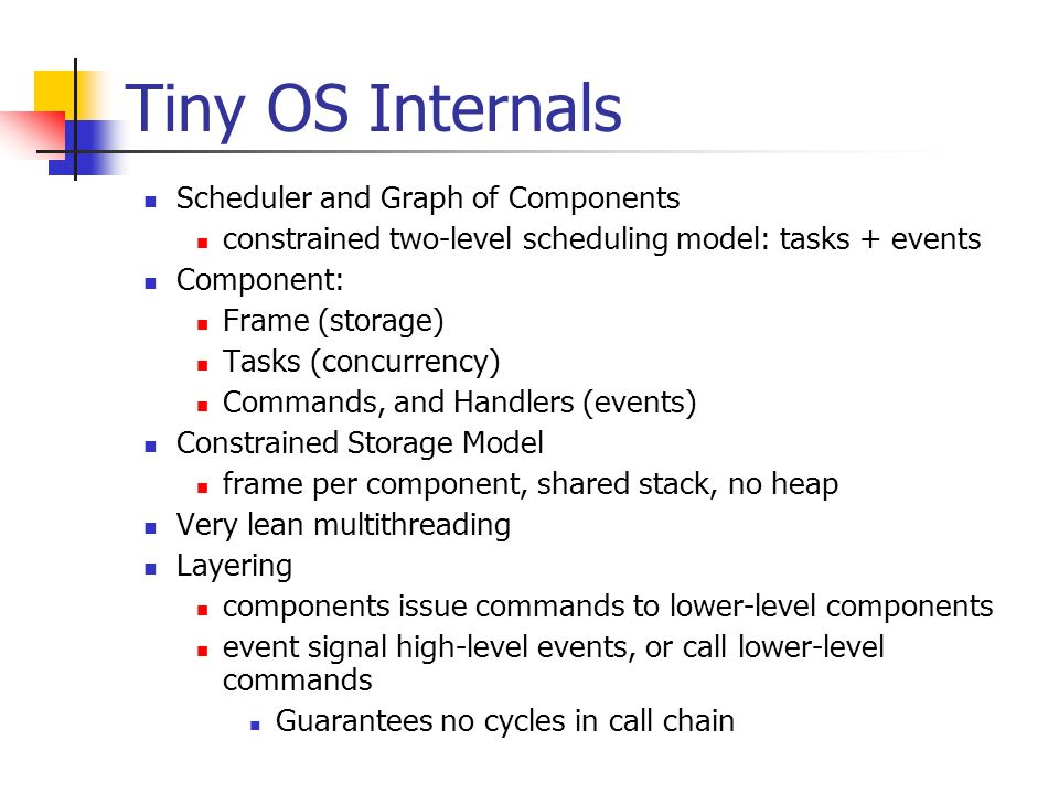 Tiny OS Internals Scheduler and Graph of Components