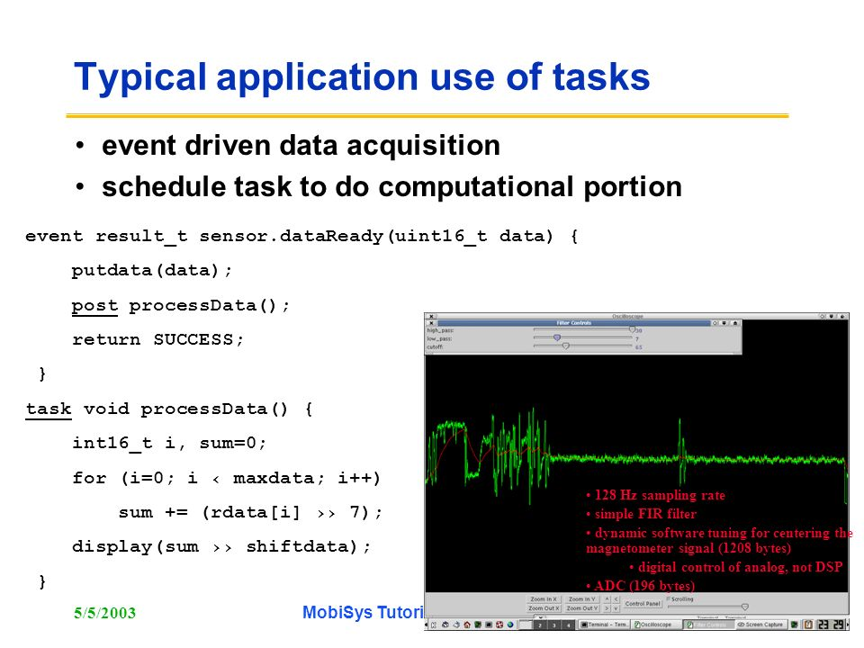 Typical application use of tasks