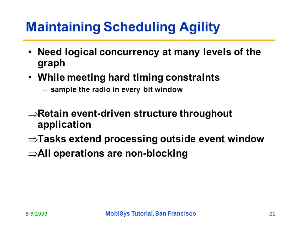 Maintaining Scheduling Agility