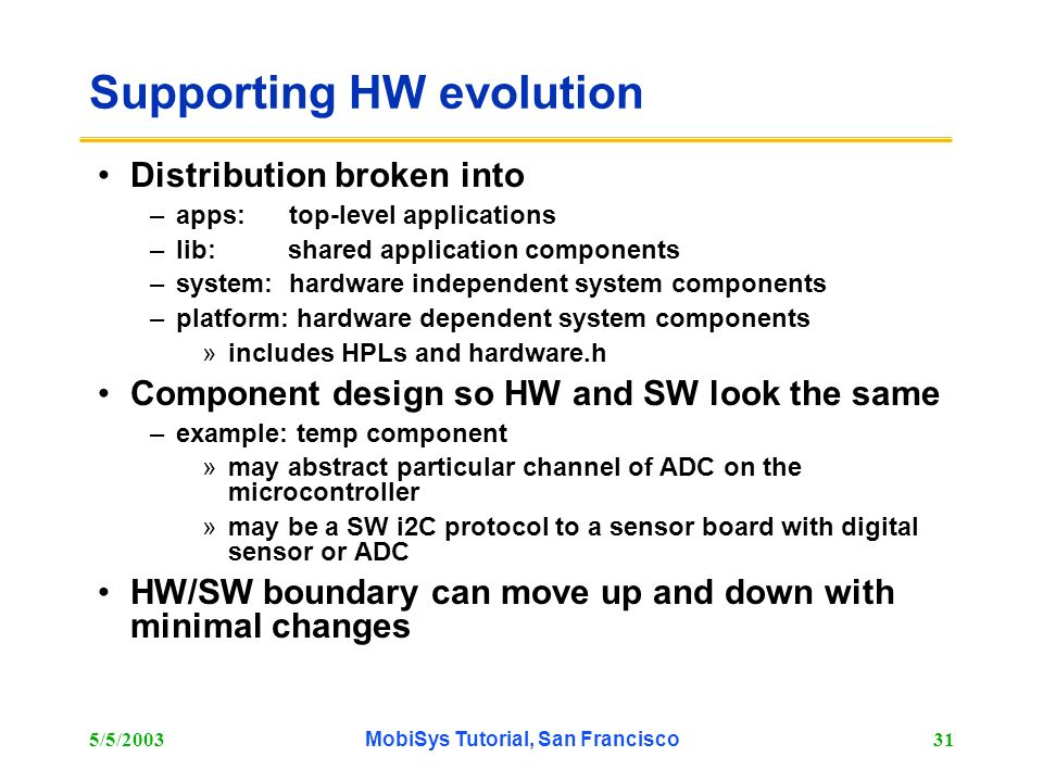 Supporting HW evolution