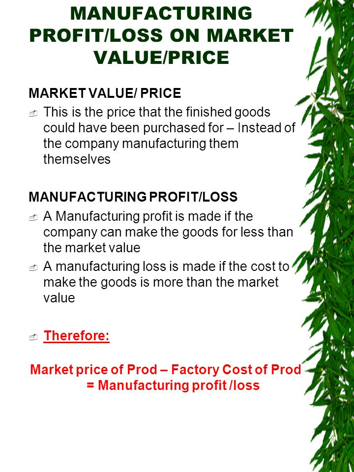 MANUFACTURING PROFIT/LOSS ON MARKET VALUE/PRICE