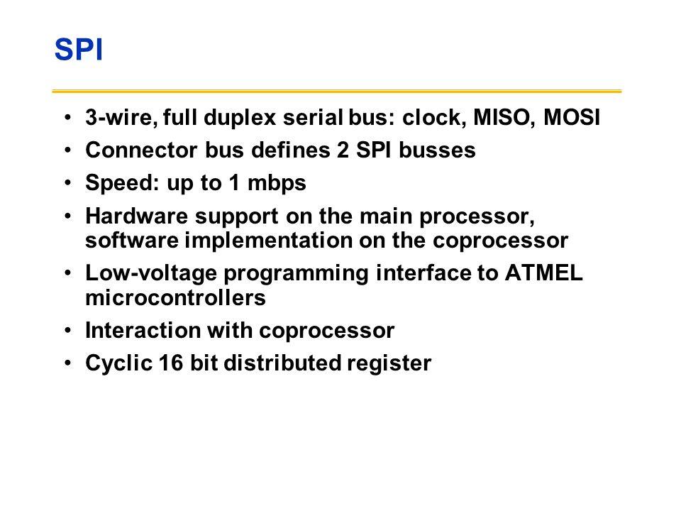 SPI 3-wire, full duplex serial bus: clock, MISO, MOSI